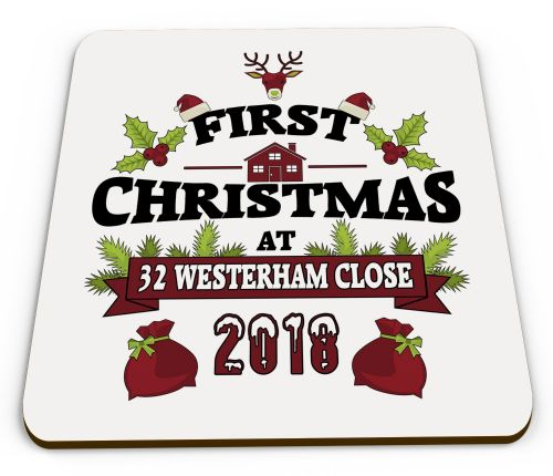 2018 Personalised First Christmas At New Address Novelty Glossy Mug Coaster